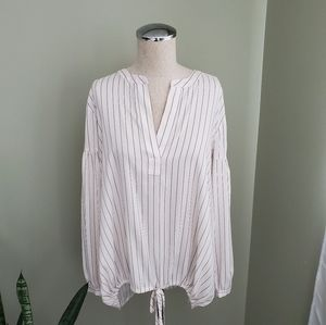 Ann Taylor Cream with Black Stripe Blouse Size  M